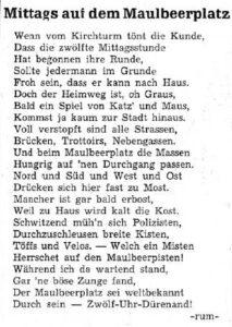 Gedicht zum Maulbeerplatz im Thuner Tagblatt vom 12. Dezember 1962