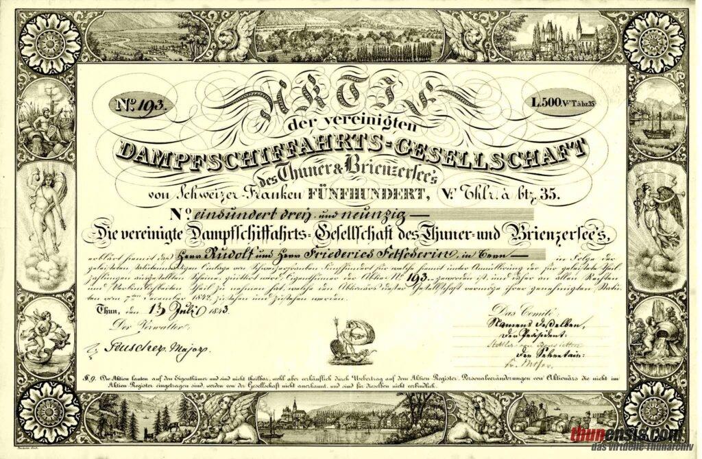 Aktie Dampfschiffahtsgesellschaft für den Thuner und Brienzersee von 1843