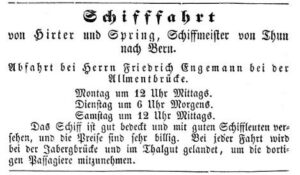 Inserat Thuner Blatt 1850